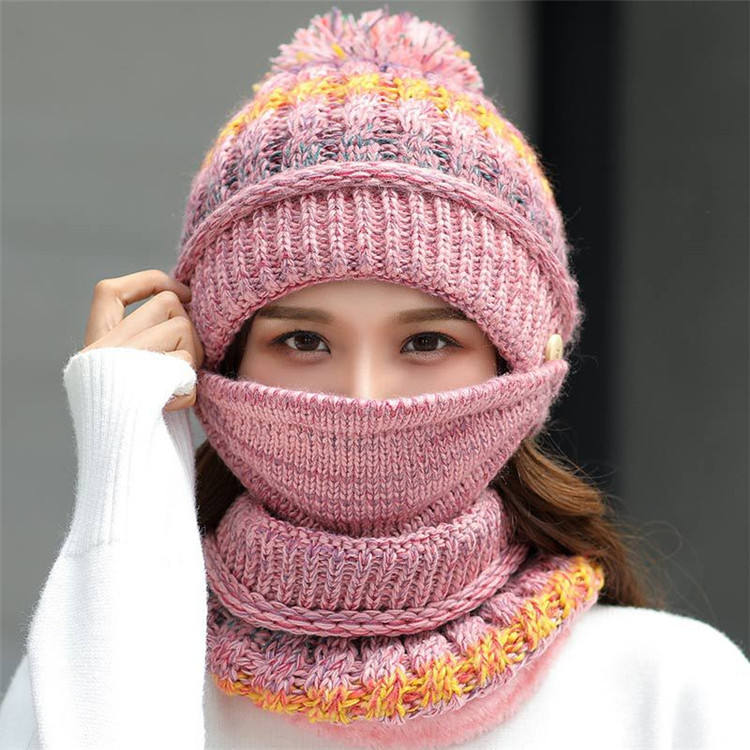 Fashion ski hat women's beanies warmer set knitted winter scarf and hat set