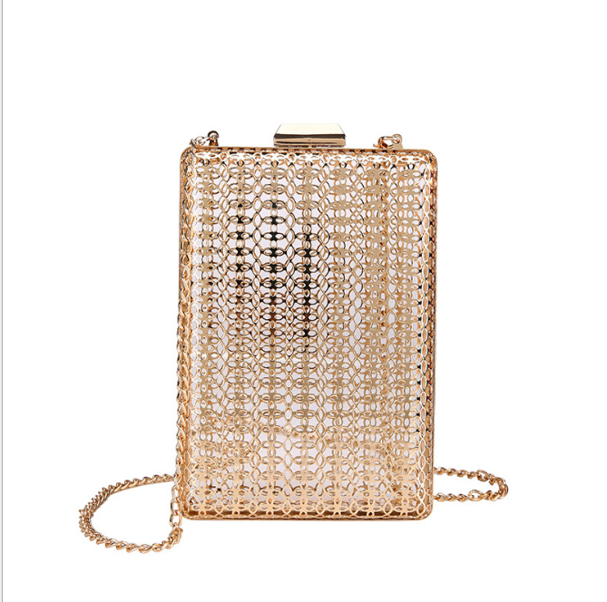 Holle Metalen Vrouwen Schoudertas Gouden Kooien Vierkante Clutch Dames Luxe Wedding Party Crossbody Purse Handtas