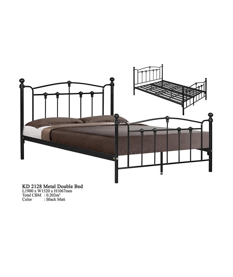 Latest Modern Metal Domica KD-2128 Super Queen Steel Bed Design Malaysia