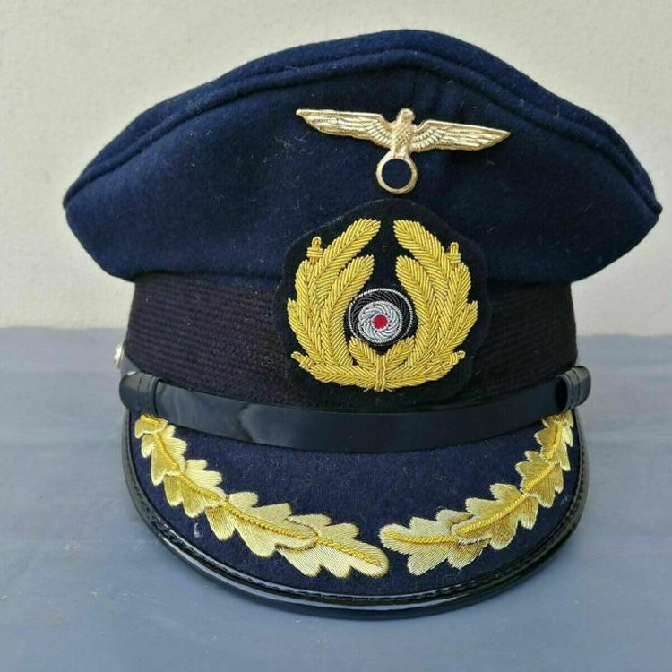 Wholesale Military Supplier Officer Cap Hat German Navy Captain Cap Hand Made Embroidered Peaked High Quality
