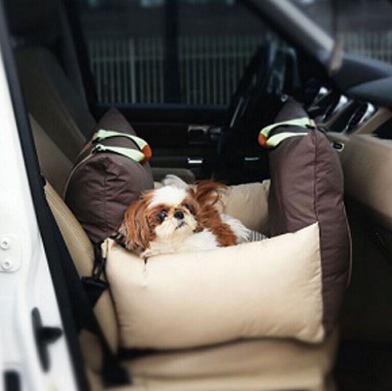 Luxury Pet Car Seat with Safe Belt and Dog Leashes Inside, Waterproof & Crease resist Quality for Outdoor Dog Bed