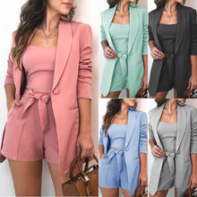 Blazers Ladies Women European And American Sexy Solid Color Three-Piece Suit Blazer Coat And Pants Suit Short Set For Women