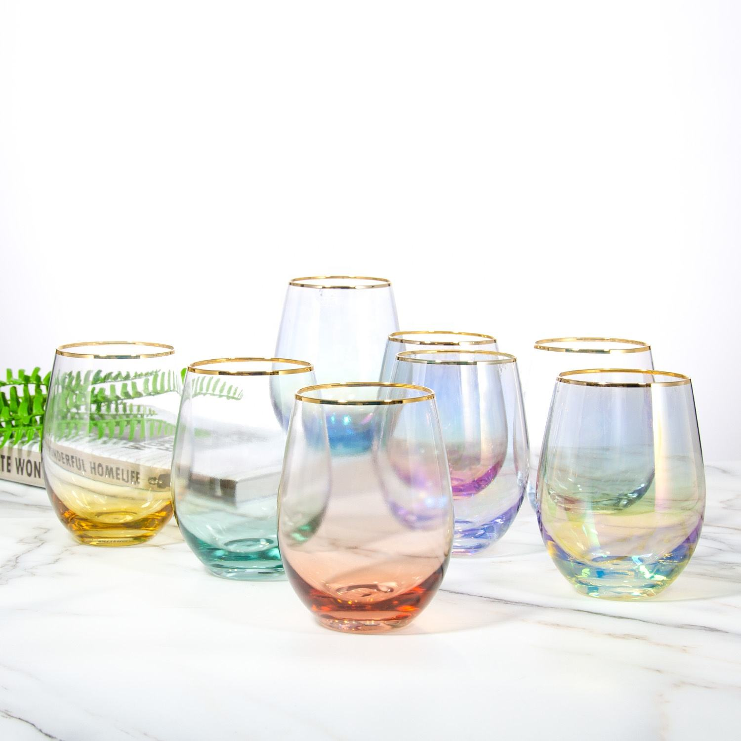 handmade egg shape dishwasher safe stemless wine glasses water glasses set