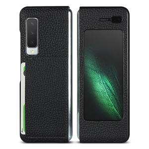 Luxury Lychee Genuine Leather Hard PC Folding Phone Case for Samsung Galaxy Fold High Quality Coque With Card Slot