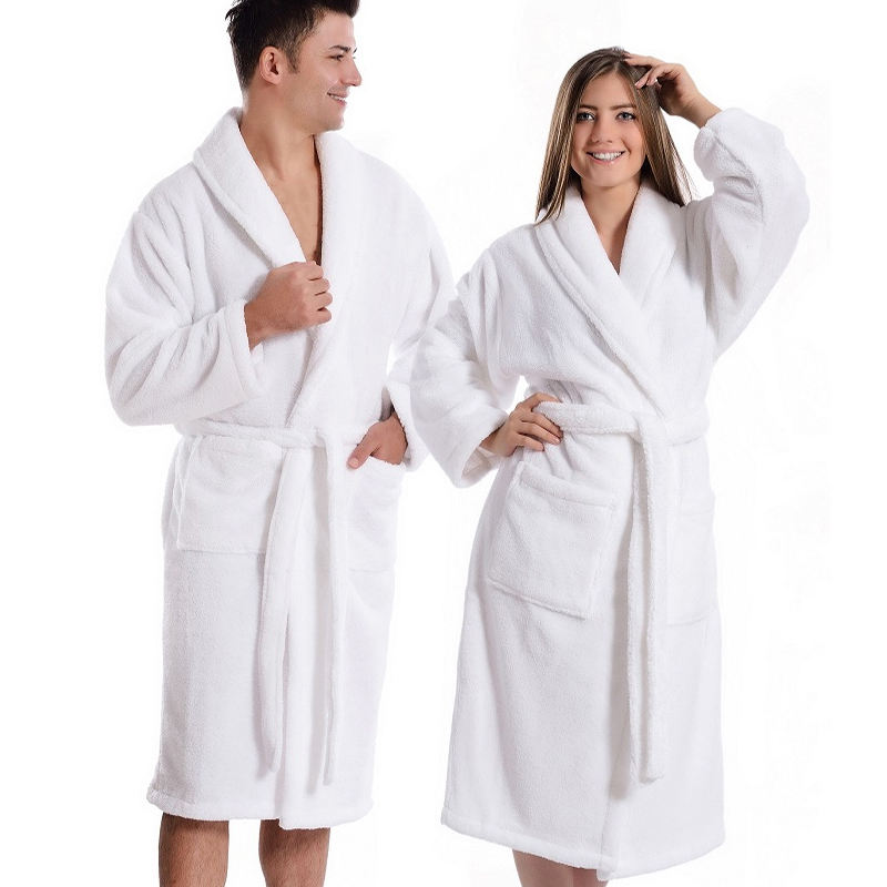 In Stock Custom Logo Extra Large 100% Cotton White Terry Bathrobe