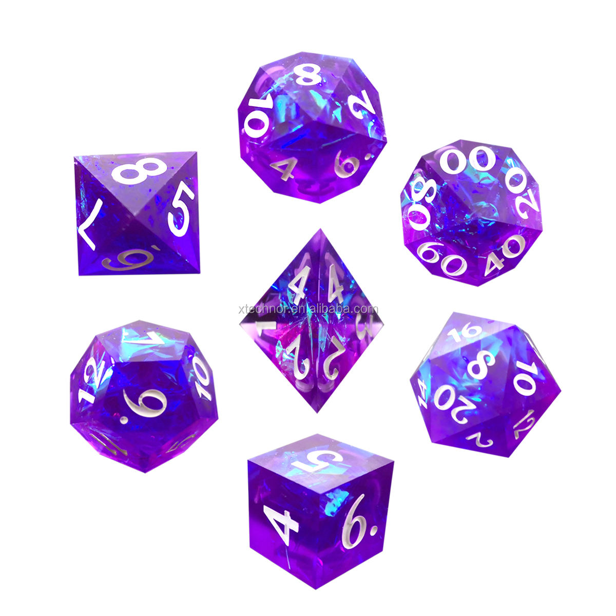 Sharp Edge Amethysts RPG dnd dice Set Role board Game with D4 D6 D8 D10 D% D12 D20 Great for DND Dungeons Dragons MTG play Games