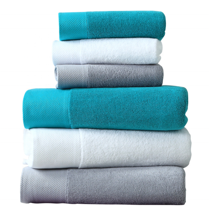 Wholesale Luxury Towels Set Bath+ Face + Hand Towels 100% Egyptian Cotton White Bath Towel