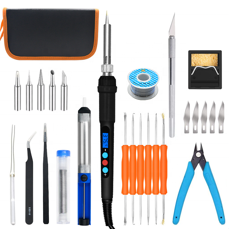 28pcs Welding Soldering Iron Kits Repair Household Multi computer Tool Kit Set with 60w Digital display soldering iron
