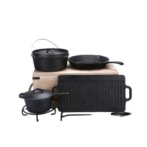 Customization cast iron camping cookware sets dutch oven for camping with wooden box