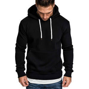 Hot Selling Men's Hoodies Long Sleeve Solid Color Hooded Pleated Pocket Muscle Slim Sweater