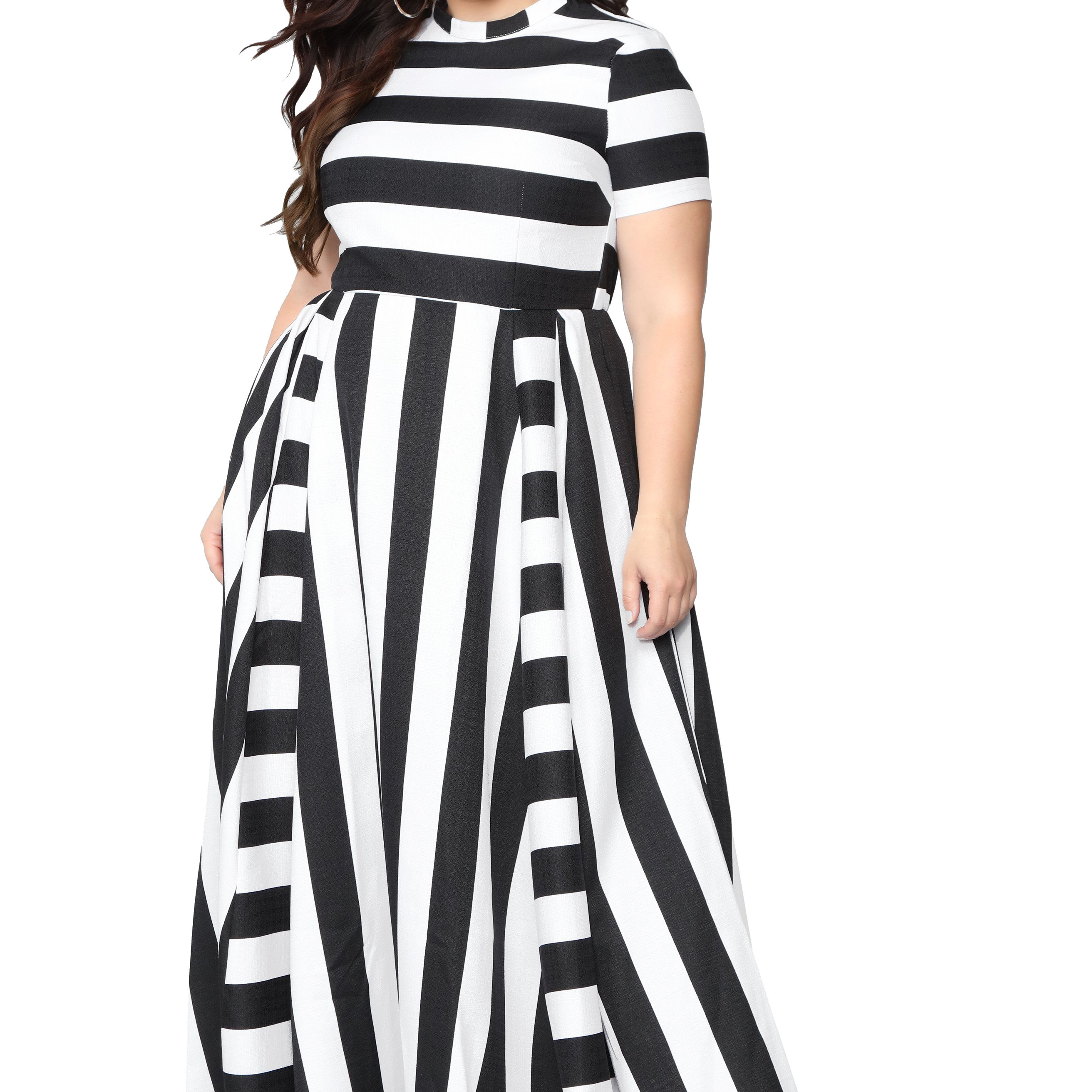 Summer European and American sexy fashion women's round neck dress plus size