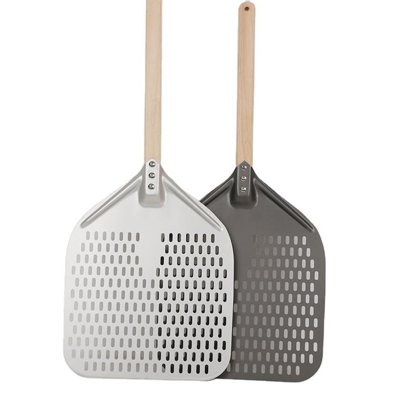 Perforated Turning Peel 12 / 14 Inch Rectangular Pizza Shovel Aluminum Hard Coating Pizza Peel Wooden Handle Cake Baking turner