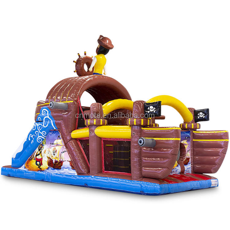 large adventure inflatable pirate boat bounce castle with slide