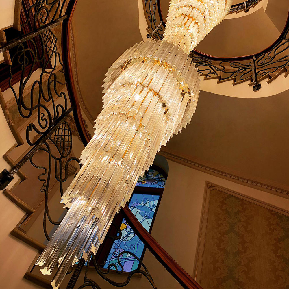 Modern gold long stair hanging spiral cristal beaded pendant lamp crystal chandelier for staircase