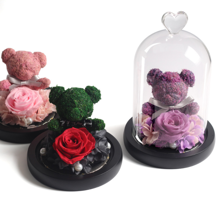 Artificial Eternal Rose Glass Rose Flowers Artificial Beauty The Beast In Glas Cover Galaxy Gold for Valentine Day