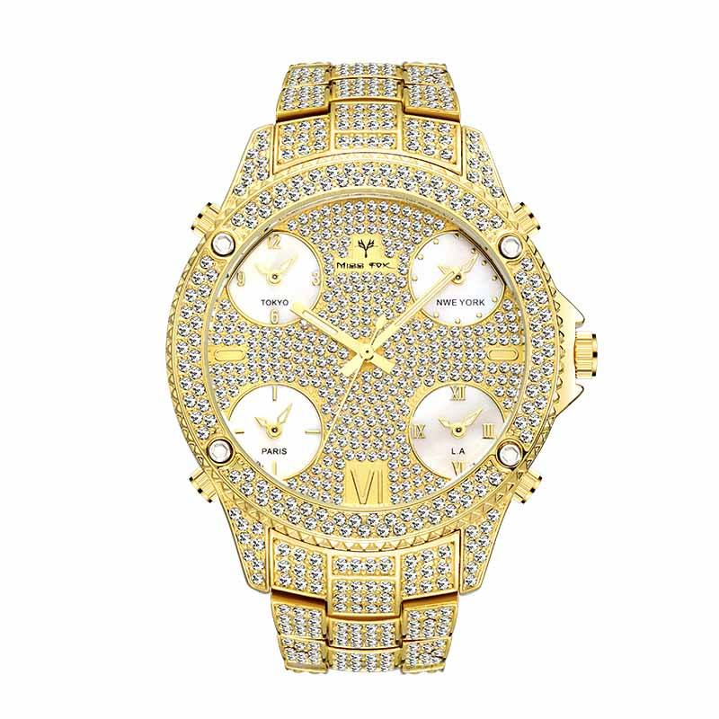 51Mm Oversized Big Dial 18K Gold Luxury Diamond Half Iced 5 Time Zone Quartz Business Men Watches