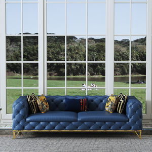Navy Blue Luxury European Modern Sofa Home Furniture Microfiber Leather Top Quality Sofa For Living Room