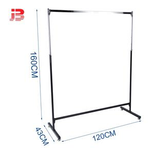 High Quality Chrome Plated Commercial Grade Metal Clothes Rack double bar hanging Display Rack