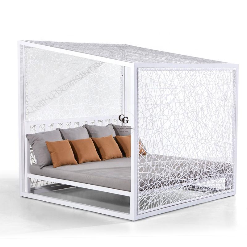 Dormitorio de cama salón de sol con dosel Silla de playa fabricante Sunbed de aluminio cama al aire libre