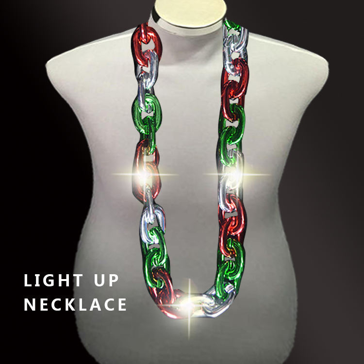2020 novelty necklace Christmas Party Favors chain Xmas LED Bulb Necklace Light Up mardi gras beads led necklace