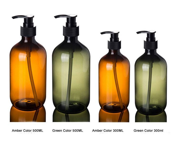 Empty 300ml 500ml amber green clear PET plastic shampoo wash hand lotion pump bottles