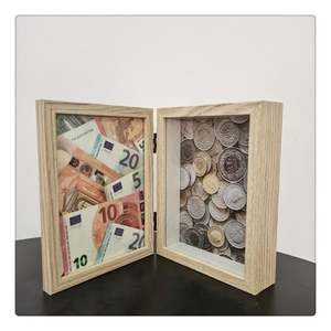 Money Nono MONEY BOX MDF GLASS NATURE Cash Storage Box