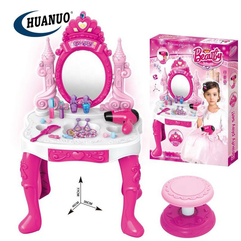 Beauty Mirror and Accessories Play Set with Makeup Accessories Pretend Play Kids Vanity Table and Chair