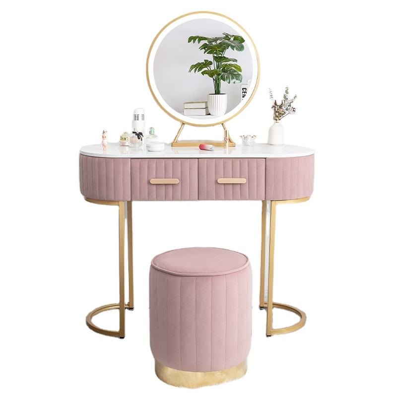 Nordic With cabinet dressing table with mirror and stool Dressing table with 3 light effect LED mirrors Golden Iron Dresser