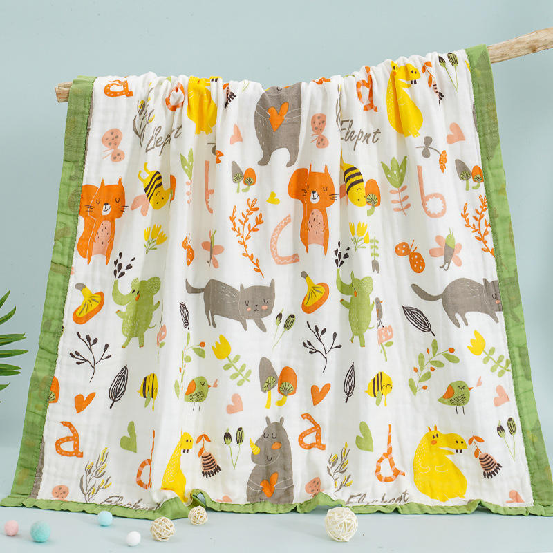 Blankets & Throws baby gauze bath towel 120*150CM 100% cotton six-layer four seasons infants Baby blanket baby quilt