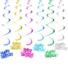 6PCS/Set PVC Happy Birthday Hanging Swirl Decor Balloon Swirls Decoration