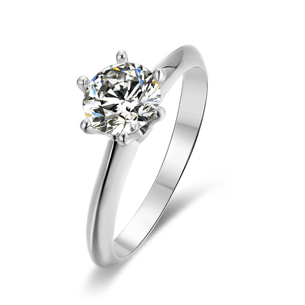 925 sterling silver 2 carat 8mm round moissanite solitaire ring