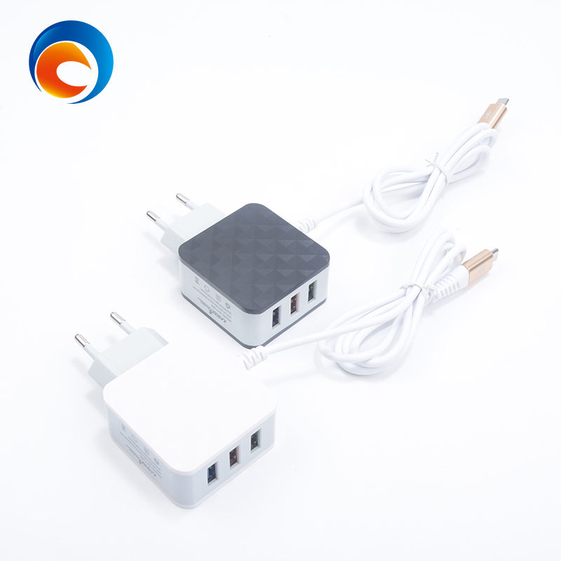 Phone Charging Diamond Texture 5V-3.5A 3 USB Wall Charger with Cable