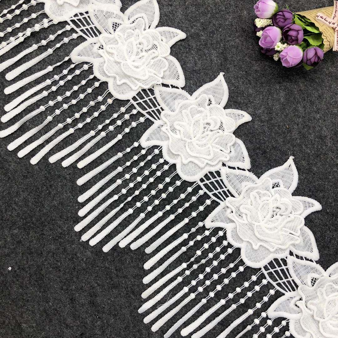Fancy 3d lace fabrics tassel fringe lace material for clothing
