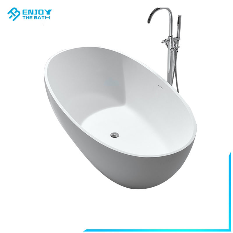 Popular Bathroom resin stone bath soaking tub oval composite stone resin solid surface bathtub