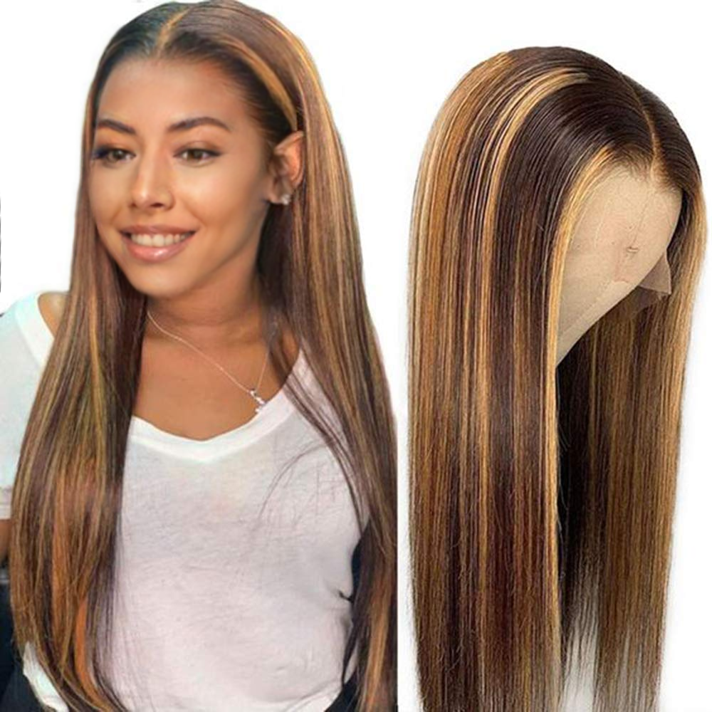 Blonde 30 Inch Long Straight Brown 13X4 Transparent Lace Highlighted Human Hair Wigs 10a Highlight Body Wave Hair Full Wig