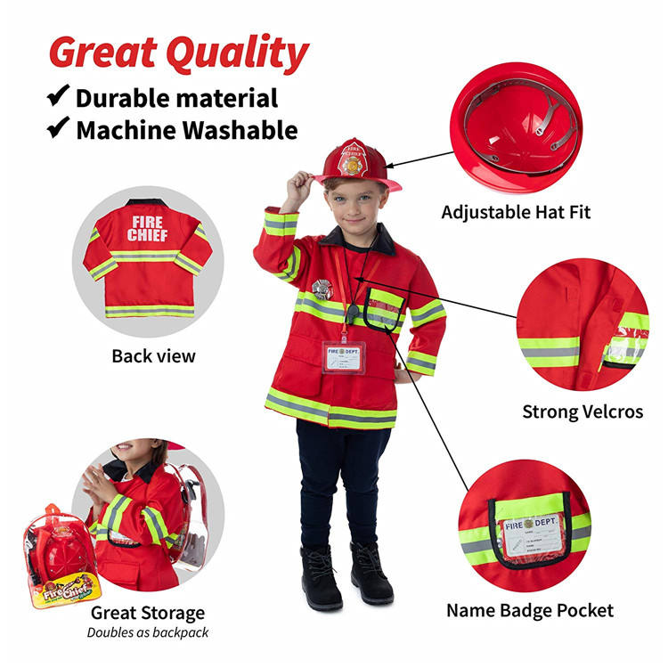 Full set backpack packing firefighting helmet toys red color fireman plastic toy for school