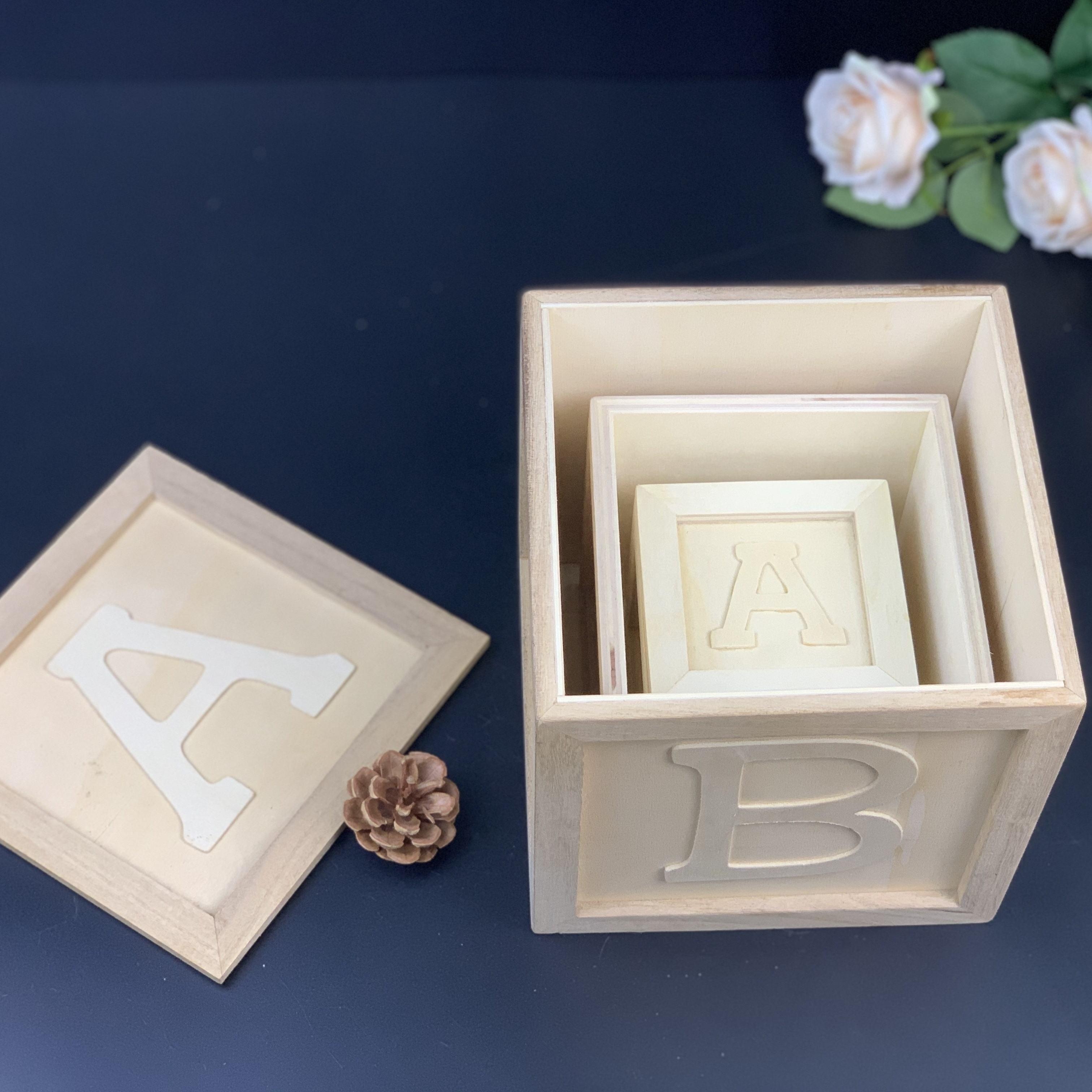 Natural Unfinished Wooden Square Cubes Blocks DIY Craft Wood Hardwood 10mm~60mm