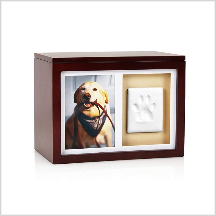Solid Wooden Pet Urns Dog Cat Wood Casket with Photo Frame