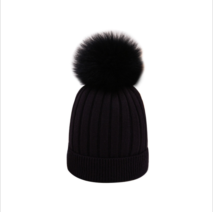 wholesale Women beanie fur ball winter hat for women girls hat knitted winter hats