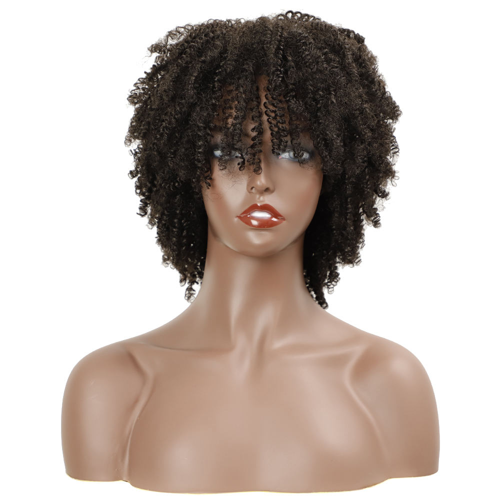 NOBLE 2021 new no lace fiber wigs high quality afro short kinky curly wig for black women synthetics curly wigs