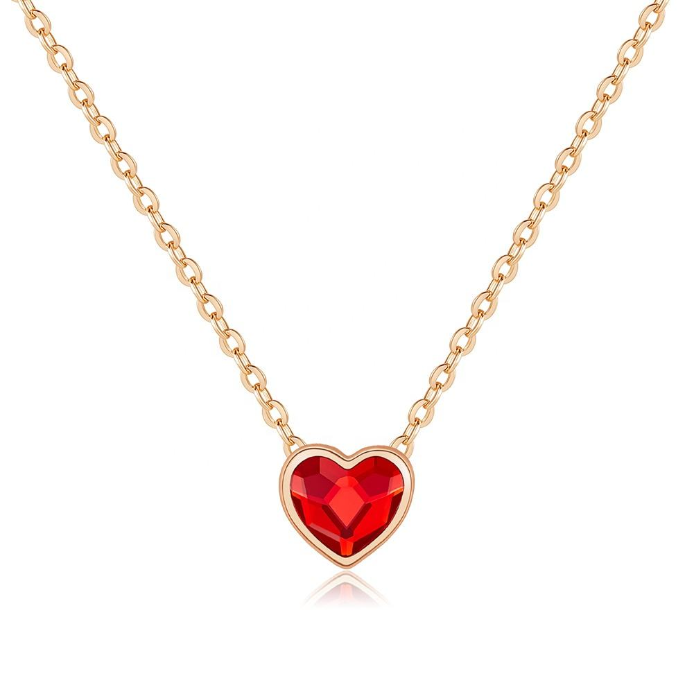 Red Heart 925 Sterling Silver Crystal Love Necklace Pendant