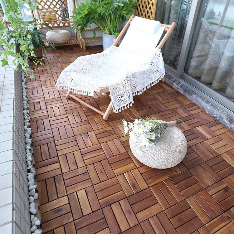 Cheap acacia wood deck DIY tile, solid wooden flooring for patio in big sale