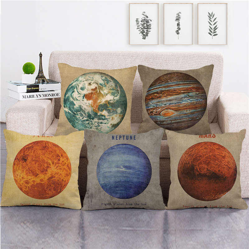 Planets in the solar system Amazon goods supplier linen cushion cover throw pillow cover decorative pillows
