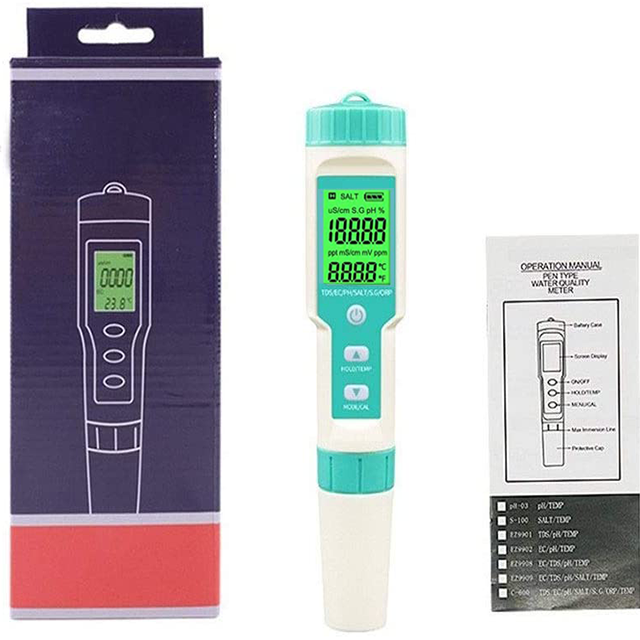 Salinity PH TDS EC ORP TEMP SG Meter Water Quality Analysis Kit High Quality 7で1 AquariumためHydroponics Water Test