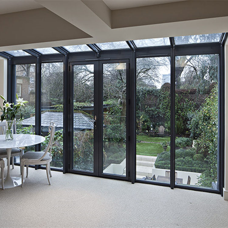Balcony patio floor to ceiling window energy saving thermal break aluminum toughened temper glass double swing french door
