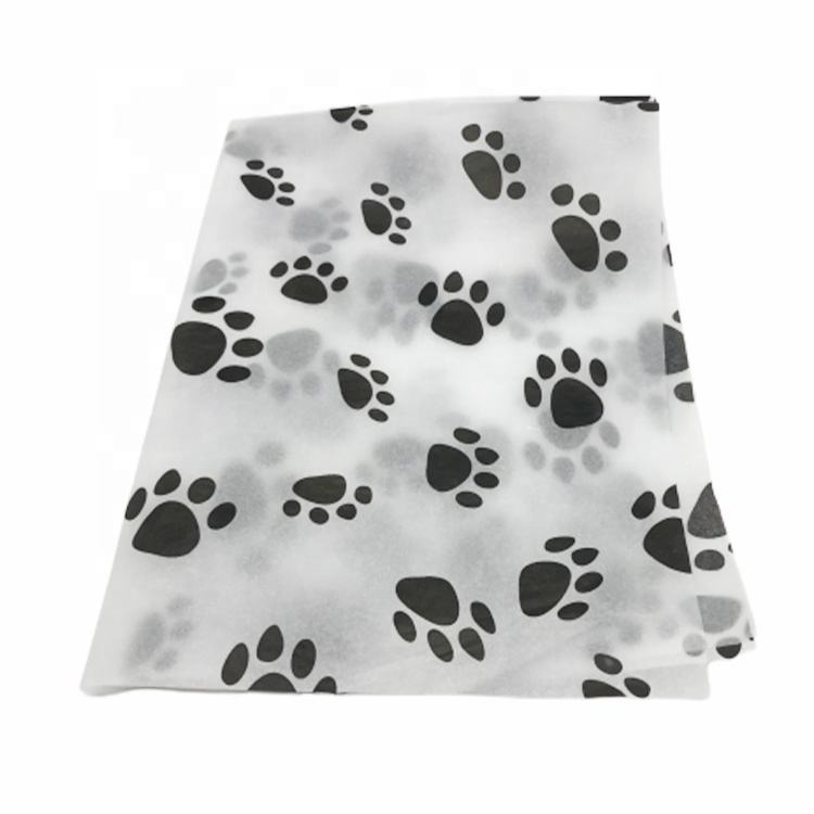 Eco Friendly Custom Printed Logo Dog Paw Pattern Tissue Gift Wrapping Paper