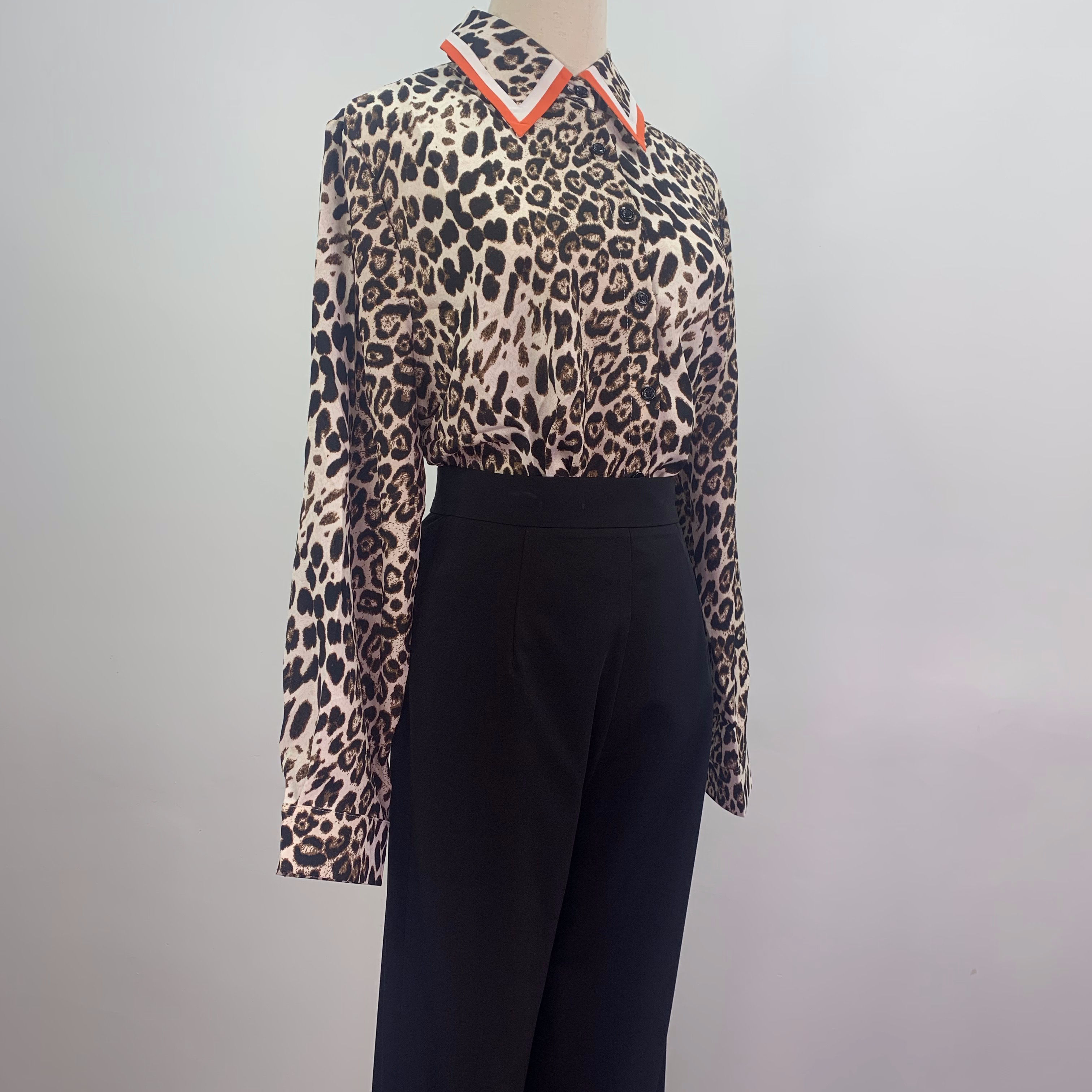 Spring 2020 women clothes new style leopard print large size fashion long sleeve women's blouse