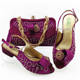 Sinya New Style Old women shoes bag set Low Heel 4cm Beautiful italian shoe to match bag set with stones