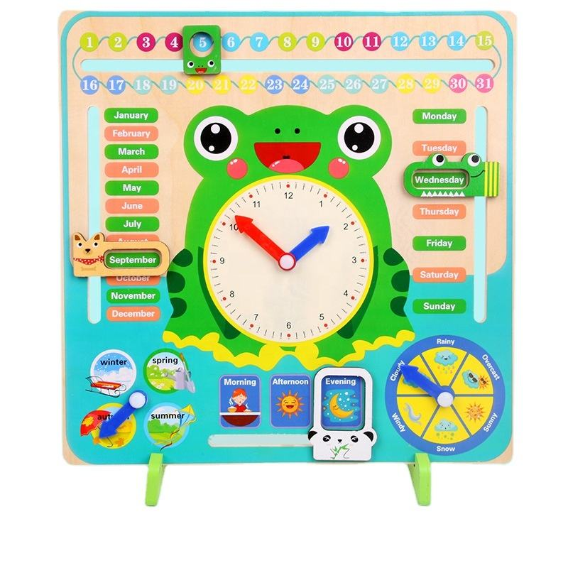 Natural cute wooden kids diy toys educational montessori 7-in-1 Clock seasons time cognitive Toy