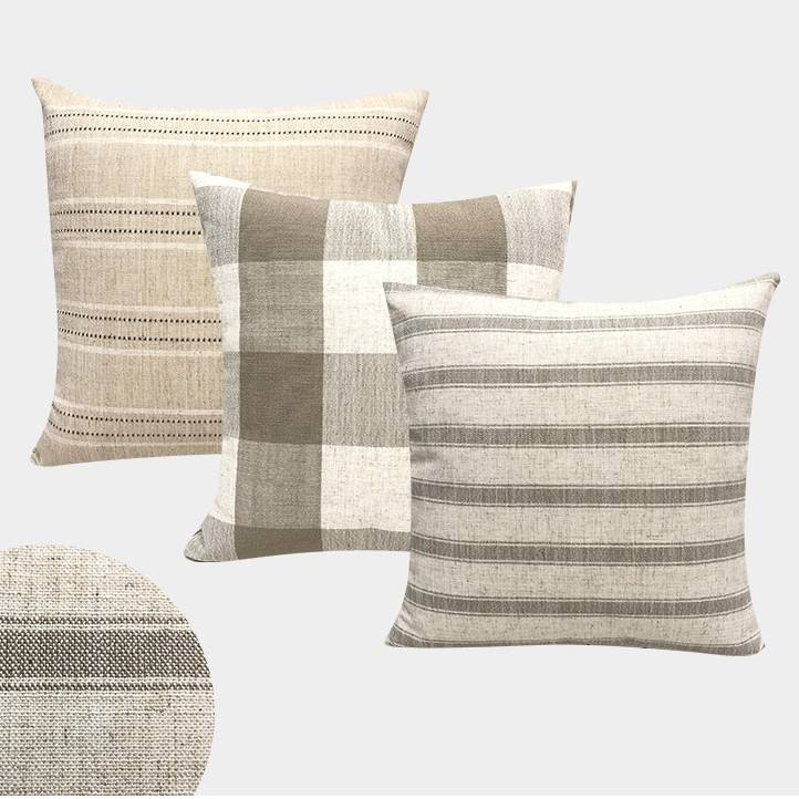 Linen Striped Grid Cushion Covers Home Decorative High Quality Throw Pillows Cover Plain Sofa Cushion Cover